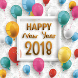 Colored Balloons Frame Happy New Year 2018 Ornaments Wallpaper