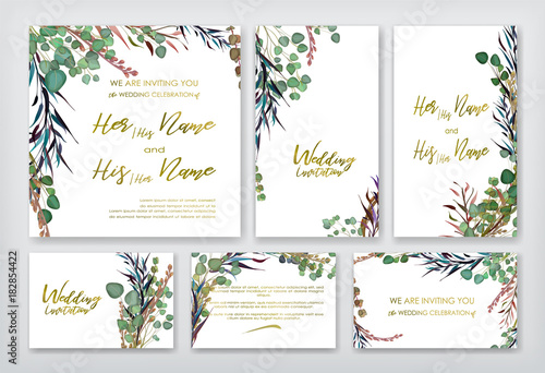 Wedding invitation frame set flowers leaves watercolor isolated