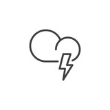 Cloud weather with thunder line icon, outline vector sign, linear style pictogram isolated on white. Lightning bolt symbol, logo illustration. Editable stroke - 182855284