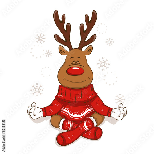 A cute Christmas reindeer is engaged in yoga. Meditates. Lotus pose It's is wearing a warm knitted sweater and socks with ornament. Isolated. Vector for your design.