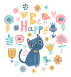 Floral background with cat and birds