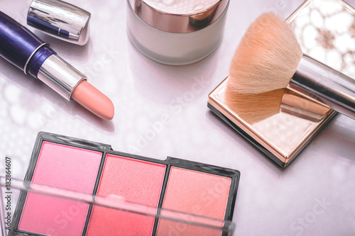 Fototapeta Set of decorative cosmetic. Lipstick, blashes, face cream.