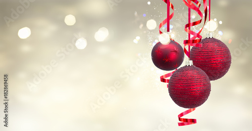 In de dag Bol Red christmas balls on festive glowing background banner