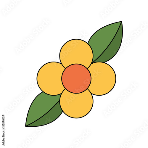 yellow flower leaves natural flora vector illustration