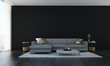 The interior design of luxury lounge and livin room and black wall wall background  - 182871236