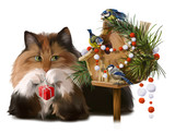 Fluffy cat and chickadees decorate the house