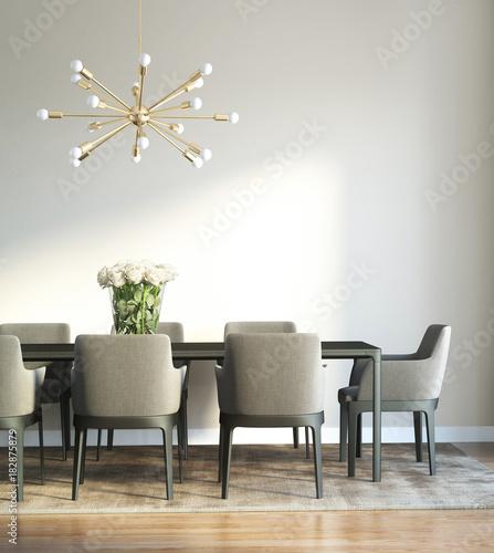 Modern chic luxury dining room detail