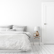 Home interior wall mock up with unmade bed, cushions, door, lamp and alarm clock in white bedroom. 3D rendering.