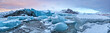 Top of glacier floes with sunny sky, Iceland