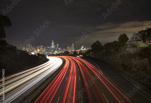 Poster Nacht snelweg San Francsico
