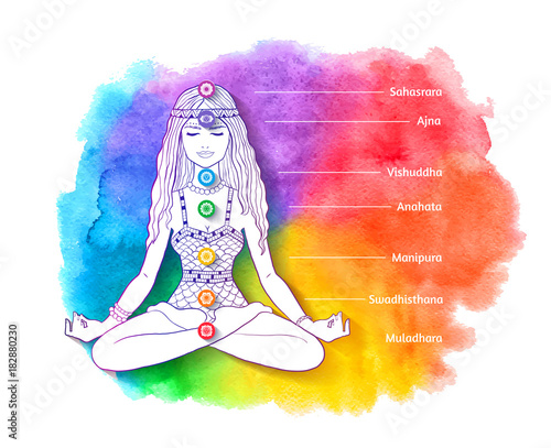 Sticker Young woman sitting at pose of lotus and meditating