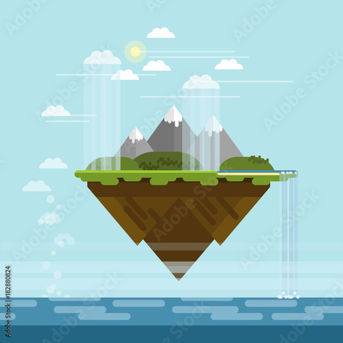 Fotobehang Lichtblauw Vector flat design floating island with mountains, hills, waterfall to the sea and rainy clouds