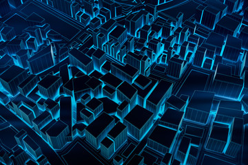 Abstract Futuristic Dark and line 3D Map of City, travel and tourism planning future technology concept. 3D illustration. © Chanchai