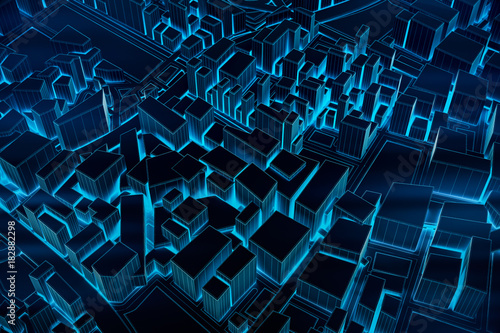 Abstract Futuristic Dark and line 3D Map of City, travel and tourism planning future technology concept. 3D illustration. - 182882298