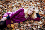 Young woman in beautiful autumn park, concept autumn - 182887065