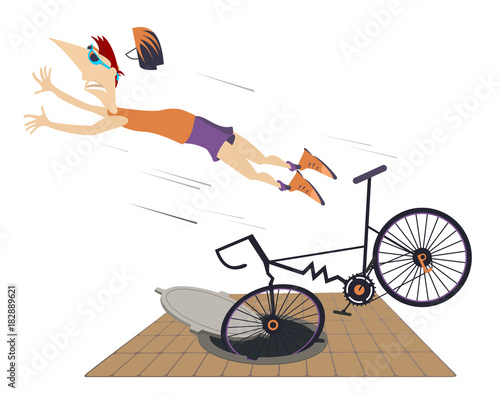 Cyclist falling down from the bicycle isolated. Cyclist man gets into a sewer manhole and falls down from the bicycle