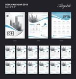 Set Desk Calendar 2018 template design, blue cover, Set of 12 Months, Week start Sunday - 182893699
