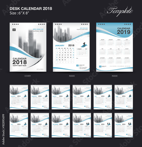 Set Desk Calendar 2018 template design, blue cover, Set of 12 Months, Week start Sunday - 182893699