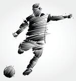 soccer player kicking the ball made of black brushstrokes on light background - 182895656