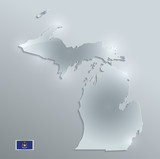Michigan map flag glass card paper 3D vector - 182896894