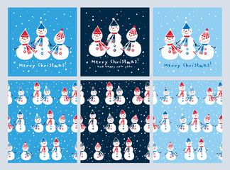 Set of Christmas cards and seamless patterns with cute snowmen. Background for gift wrap, textile, wallpapers and scrapbook. Happy New Year 2018. Doodles, sketch for your design. Vector.