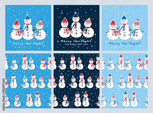 Fototapeta Set of Christmas cards and seamless patterns with cute snowmen. Background for gift wrap, textile, wallpapers and scrapbook. Happy New Year 2018. Doodles, sketch for your design. Vector.