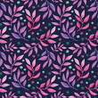 Seamless pattern, floral and berries, botanical. Plant. Watercolor. Background - 182899262