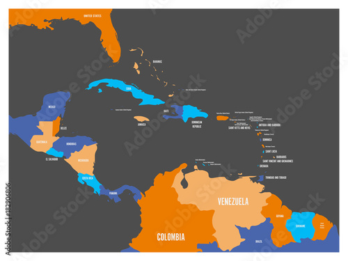 Central America and Caribbean states political map with country ...
