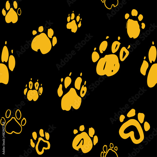 Dog paw seamless pattern. Yellow paws prints on a black. Animal vector monochrome background.