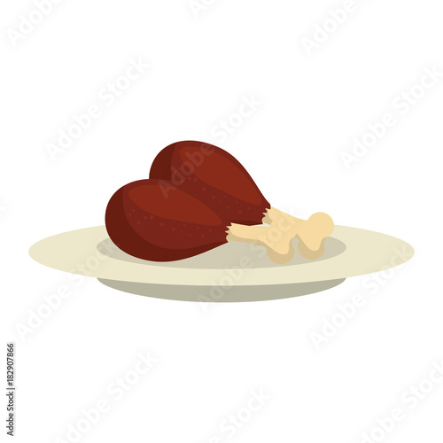 dish with chicken thighs isolated icon vector illustration design