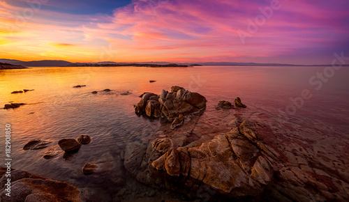 Plexiglas Strand Sunset on Karidi beach, Sithonia Greece