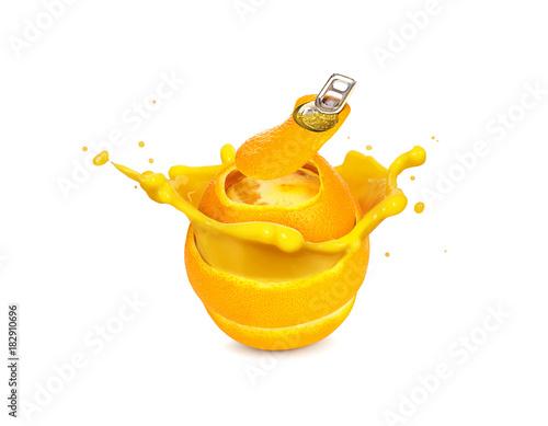 Fresh orange juice c with splash canned image concept on white background
