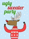 cute deer in a funny sweater with text ugly sweater party