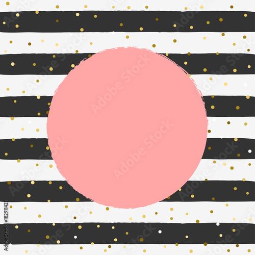 zlote-tlo-ilustracji-wektorowych-konfetti-brokatu-zlota-na-paski-czarno-biale-tlo-z-okraglym-miejsca-na-tekst-w-kolorze-roz-ladny-szablon-tlo