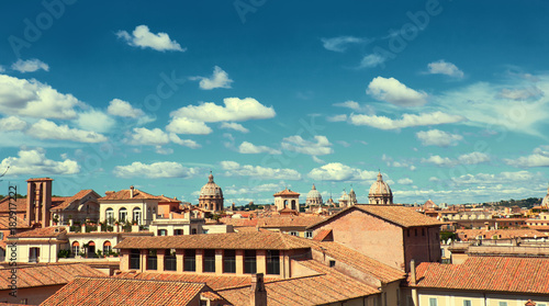 Tuinposter Rome Rome, Italy, bird view to the side of Capitol Hill with roofs and churches