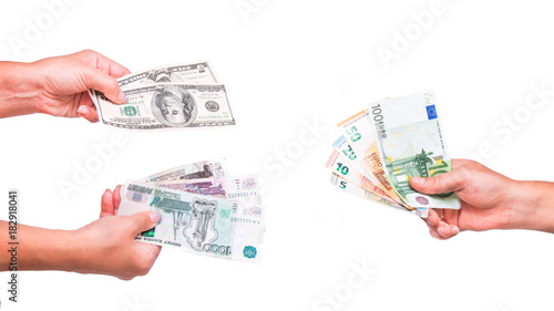 Hands Exchange Rubles And Dollars For Euros People Currency Transmit Money