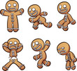 Gingerbread man in different poses. Vector clip art illustration with simple gradients. Each on a separate layer.