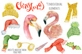 Cute Christmas flamingo watercolor creator Winter illustration with decorations