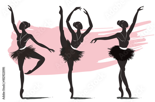 set of woman ballerina, ballet logo icon for ballet school dance studio vector illustration © santima.studio