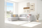 Idea of white room with sofa and summer landscape in window. Scandinavian interior design. 3D illustration - 182924804