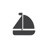Sailboat icon vector, filled flat sign, solid pictogram isolated on white. Yachting trip symbol, logo illustration. - 182926279