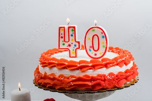 Poster Decorated cake with 40 candle