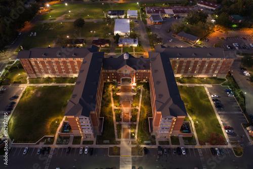 Aerial image college dorm at night