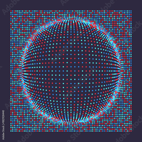 Fotobehang Abstractie 3D grid surface with particles. Futuristic technology style. Abstract background. Vector illustration for marketing, advertising and presentation.