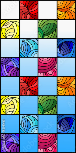 Fototapeta Illustration in stained glass style with colorful squares colored in rainbow spectrum on the background of blue sky