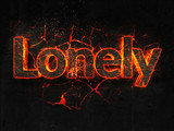 Lonely Fire text flame burning hot lava explosion background. - 182934257