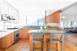 Custom designed wooden kitchen with gorgeous granite counter tops and kitchen island