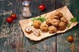 Vietnamese food. Delicious homemade fish balls on wooden table. - 182936825