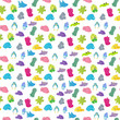 Seamless pattern with colorful sea creatures on a white background - 182940852