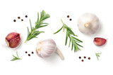 Garlic, Rosemary and Pepper Isolated on White Background - 182941247